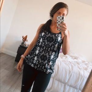 Black and White Fabletics Tank w Built in Bra